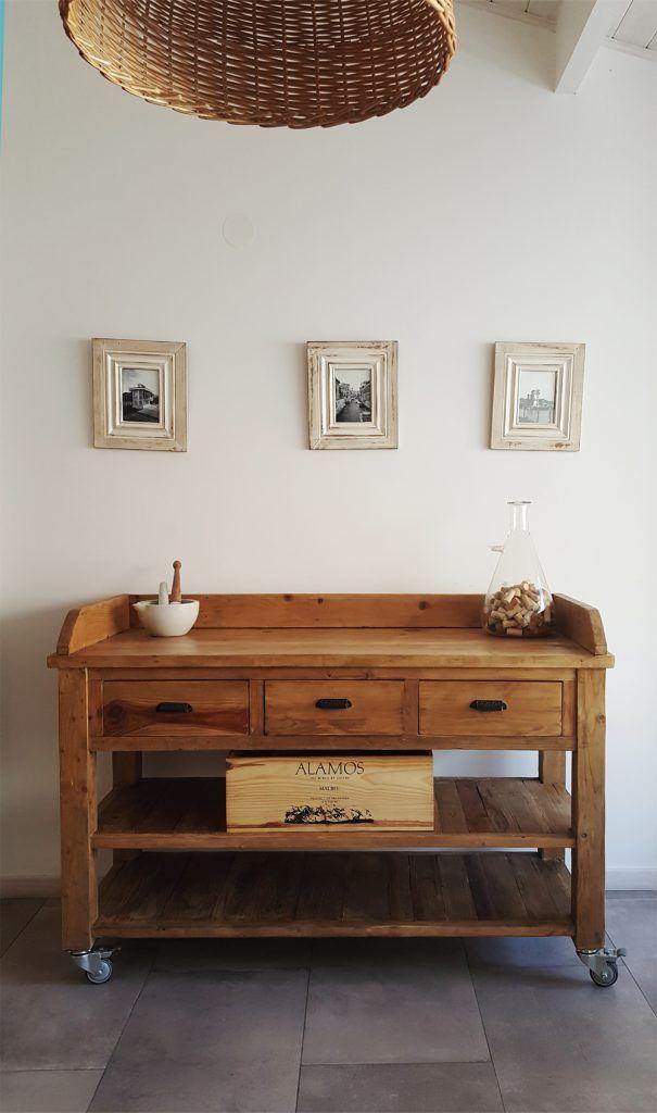 Mueble de apoyo isla con ruedas stock antigua - Mueble consola ikea ...