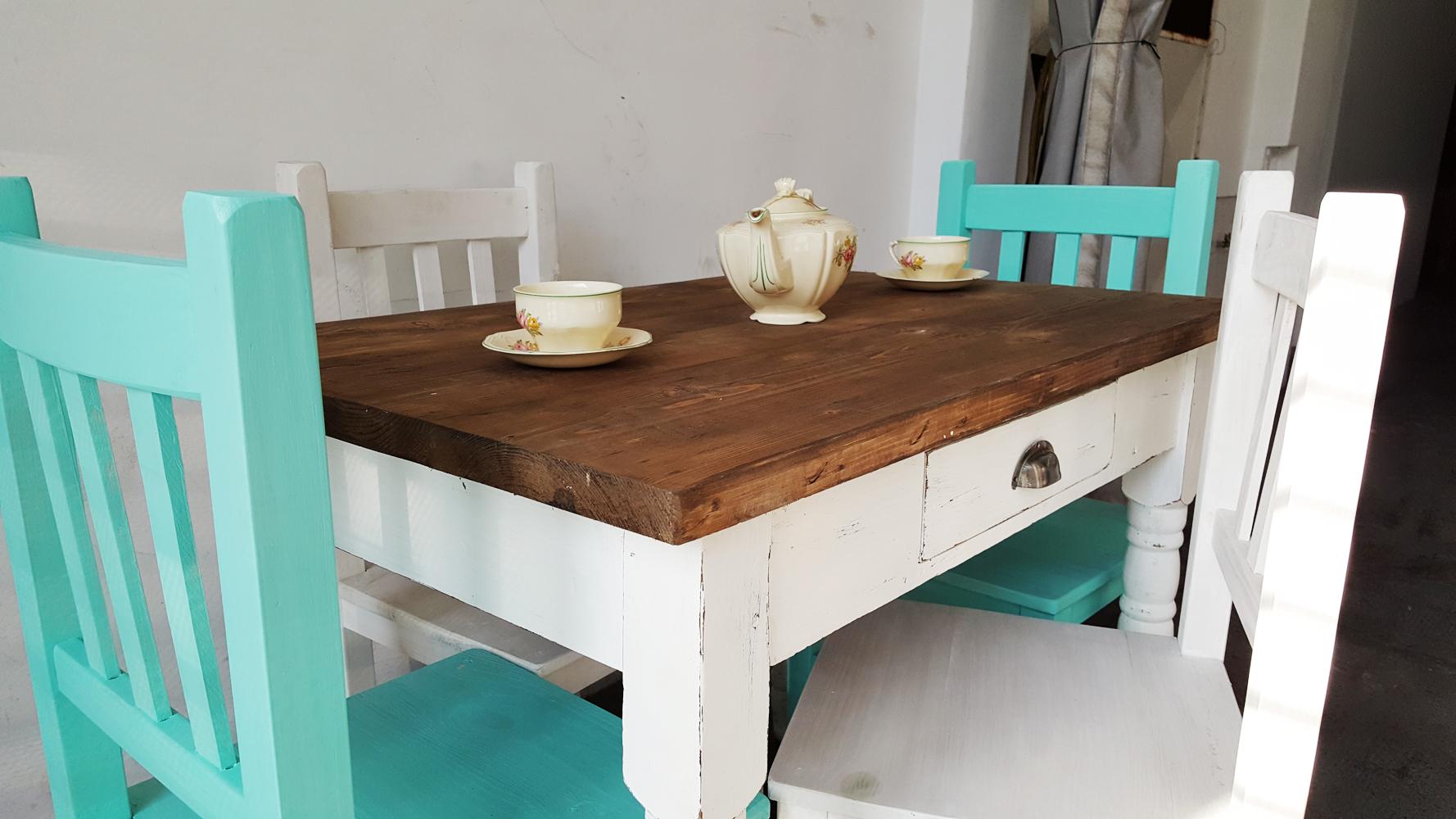 Mesa de campo patas torneadas antigua madera - Patas torneadas de madera ...